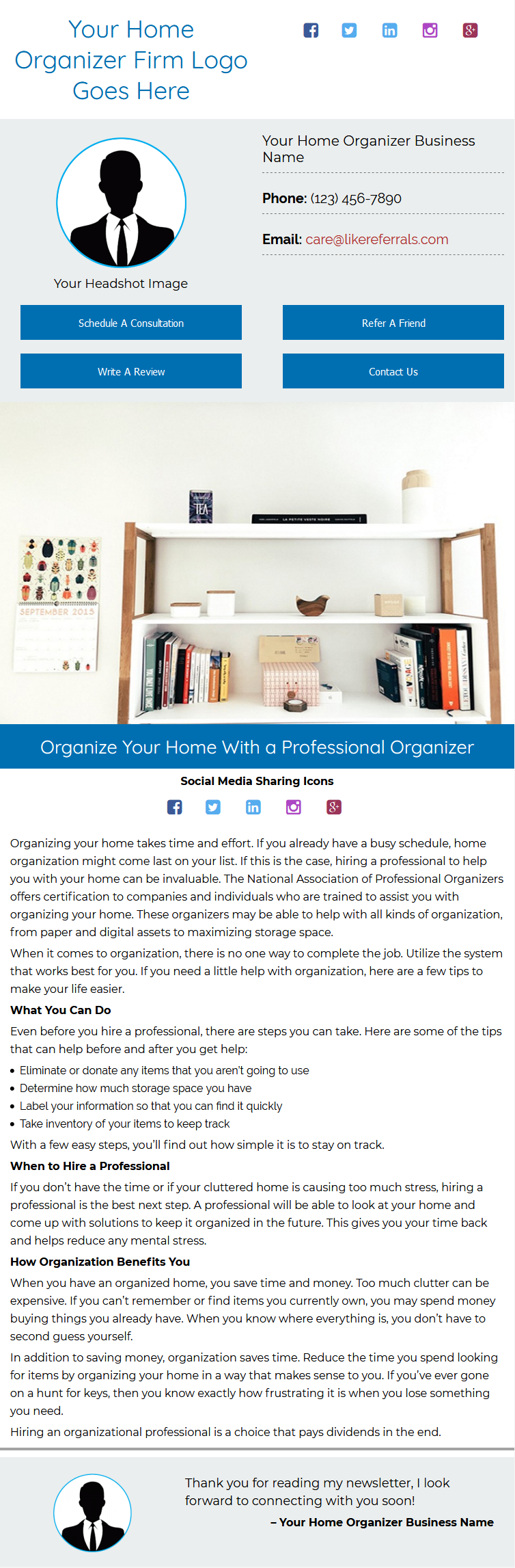 Email Newsletter Marketing Services For Home Organizer
