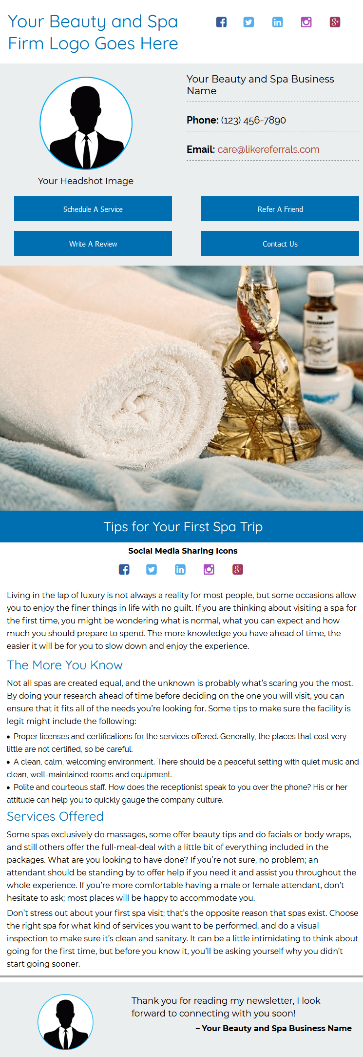 Email Newsletter Marketing Services for Beauty And Spa