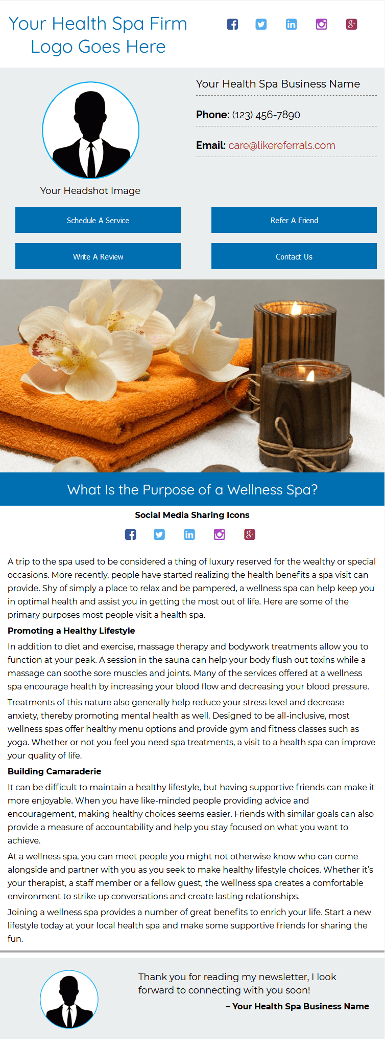Email Newsletter Marketing Services for Health Spas