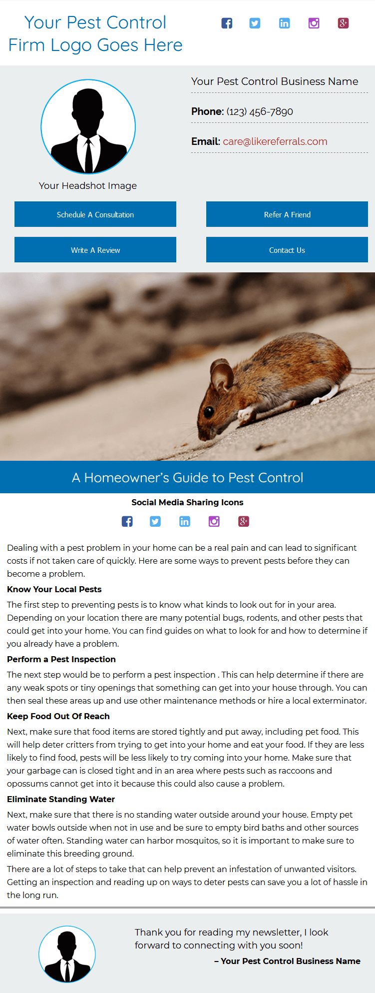 Email Newsletter Marketing Services for Pest Control Services