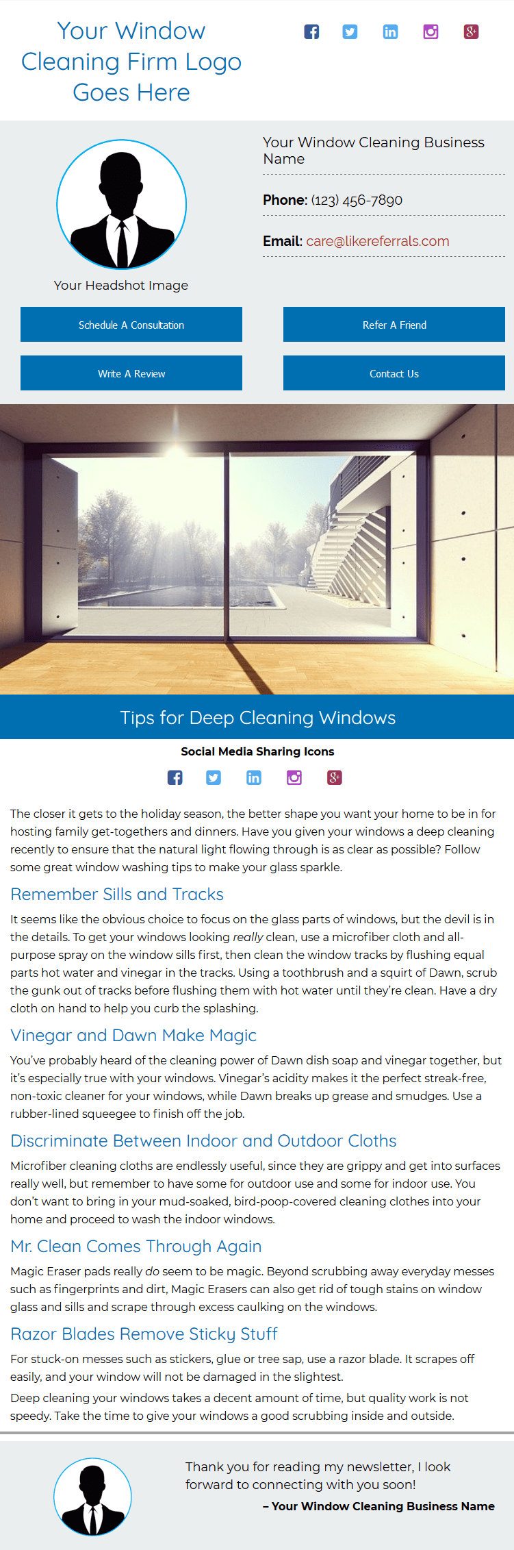 Email Newsletter Marketing Services for Window Cleaning Services